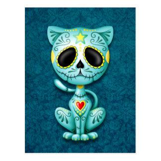 Blue Zombie Sugar Kitten Postcard