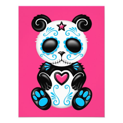 Blue Zombie Sugar Panda on Pink Custom Announcements