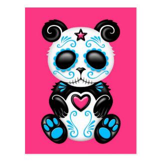 Blue Zombie Sugar Panda on Pink Postcard