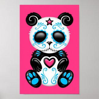 Blue Zombie Sugar Panda on Pink Posters