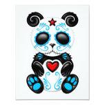 Blue Zombie Sugar Panda on White 4.25x5.5 Paper Invitation Card