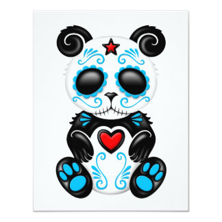 Blue Zombie Sugar Panda on White Personalized Announcements