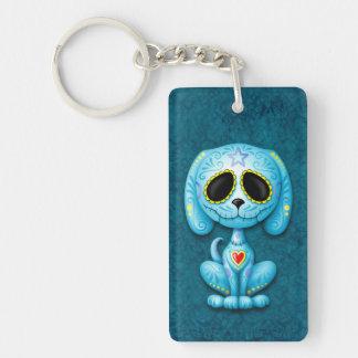 Blue Zombie Sugar Puppy Dog Keychain