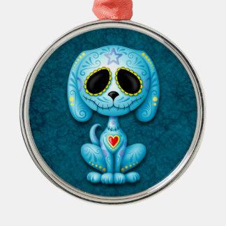 Blue Zombie Sugar Puppy Dog Ornament