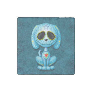 Blue Zombie Sugar Puppy Stone Magnet