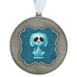 Blue Zombie Sugar Puppy Scalloped Ornament