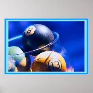 Blueball Billiards Art Poster