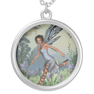 Bluebell Fairy in Spring Woodland Silver Plated Necklace