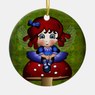 Bluebell Fairy sitting on a toadstool Ceramic Ornament
