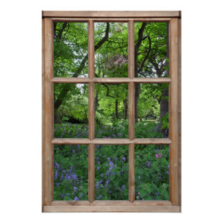 Bluebell Garden View from a Window Poster