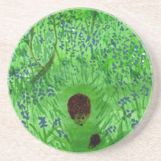 Bluebell Hedgehogs Spring Woodland Drink Coaster