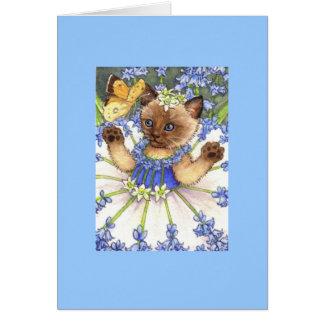 Bluebell Kitten Blank Note Card