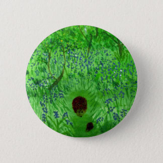Bluebell Wood Hedgehogs Art Pinback Button