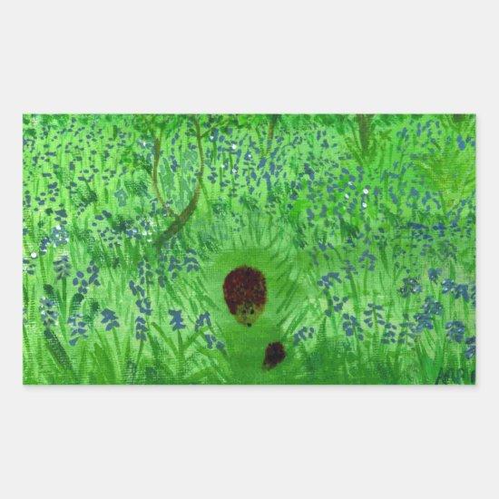 Bluebell Wood Hedgehogs Green Rectangular Sticker