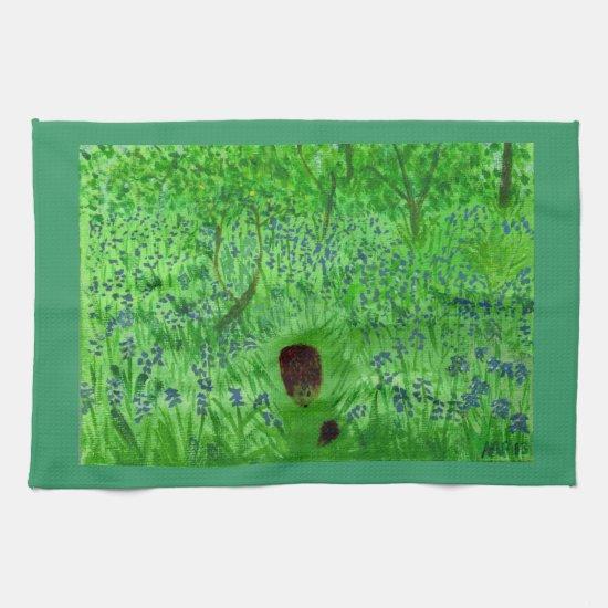 Bluebell Wood Hedgehogs Kitchen Towel