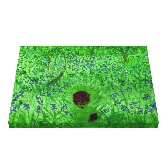 Bluebell Wood Hedgehogs Nature Art Canvas Print