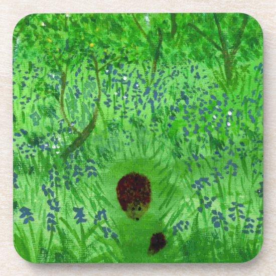 Bluebell Wood Hedgehogs Spring Beverage Coaster