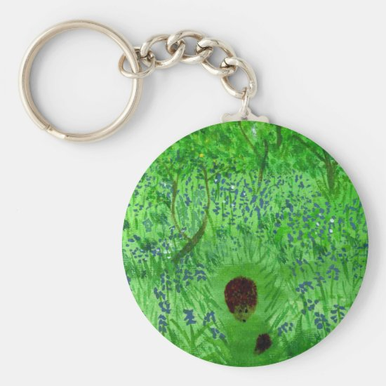 Bluebell Wood Painting with Hedgehogs Keychain