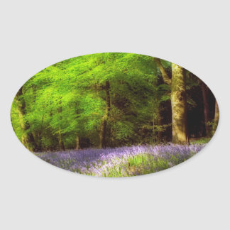 Bluebell wood oval stickers
