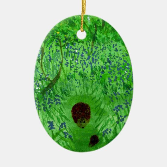 Bluebell Wood with Hedgehogs Ceramic Ornament