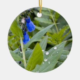 Bluebells and Raindrops Ceramic Ornament