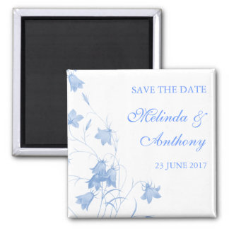 Bluebells - Blue Save the Date 2 Inch Square Magnet