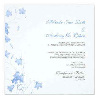 Bluebells - Blue Square Wedding Invitation