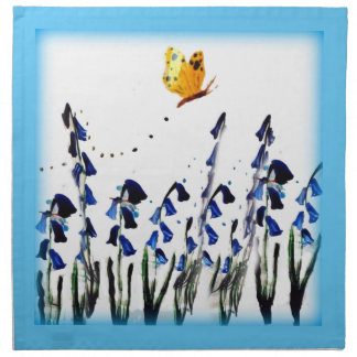 Bluebells butterfly floral art cloth napkin