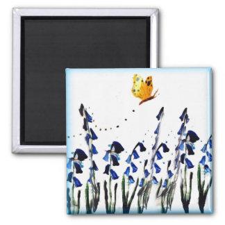 Bluebells butterfly floral art magnet