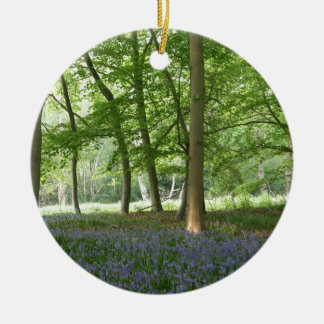 BLUEBELLS Double-Sided CERAMIC ROUND CHRISTMAS ORNAMENT