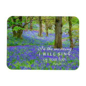 Bluebells forest in Scotland, bible verses Magnet
