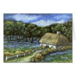 Bluebells, gorse and woodland greeting card