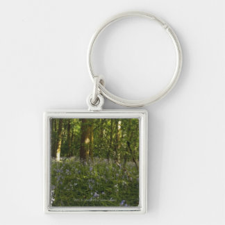 Bluebells In A Forest Silver-Colored Square Keychain