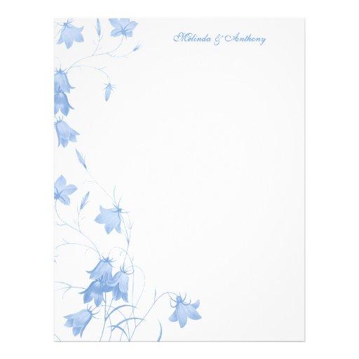 Bluebells - lavanda 8,5 x papel 11 plantilla de membrete