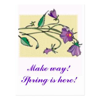 bluebells, Make way!  Spring is here! Postcard