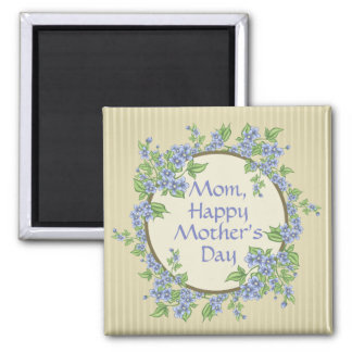 """Bluebells """"Mom, Happy Mother's Day"""" Typography Magnet"""