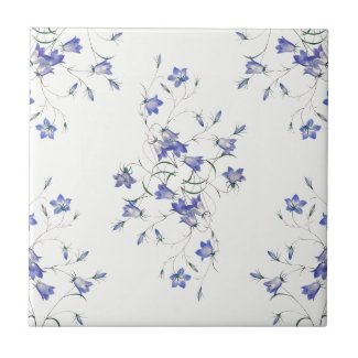 Bluebells on White Ceramic Floral Print Tile