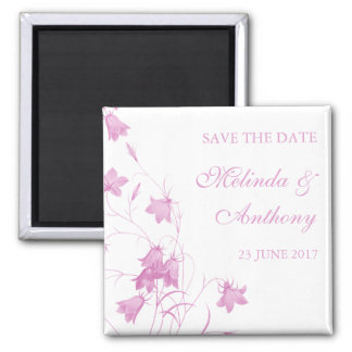 Bluebells - Pink Save the Date 2 Inch Square Magnet