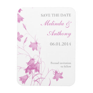 Bluebells - Pink Save the Date Rectangular Photo Magnet