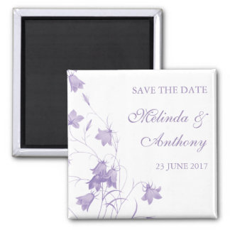 Bluebells - Purple Save the Date 2 Inch Square Magnet