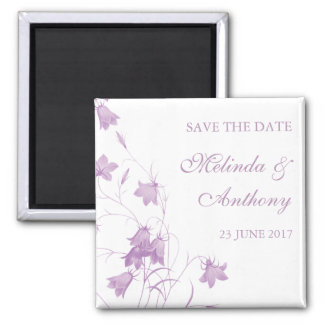 Bluebells - Violet Save the Date 2 Inch Square Magnet