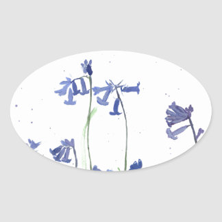 Bluebells watercolour painting oval sticker