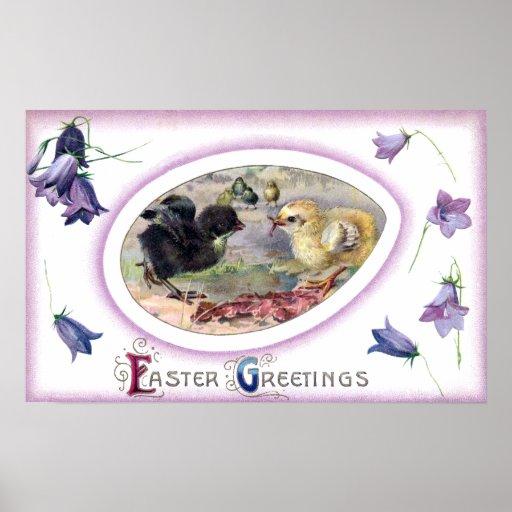 Bluebells y vintage Pascua de los polluelos Impresiones