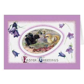 Bluebells y vintage Pascua de los polluelos Tarjeton
