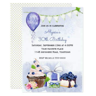 Blueberries and Balloons Birthday Invitation