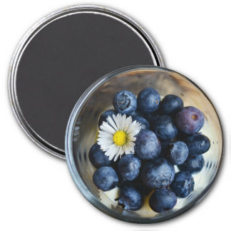 Blueberries and Daisy in Bowl Refrigerator Magnet