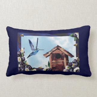 Blueberries and Hummingbird Lumbar Pillow