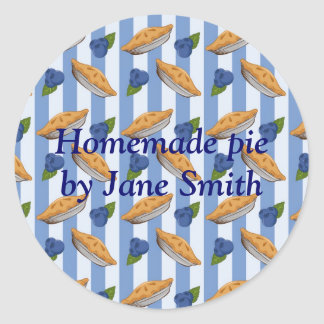 Blueberries and pie pattern classic round sticker