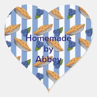 Blueberries and pie pattern heart sticker
