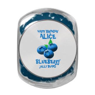 Blueberries Blue And White Happy Birthday Glass Jars